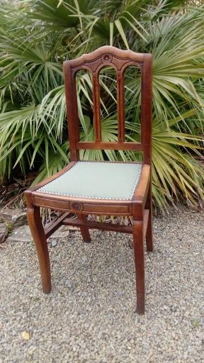 série de 6 galettes de chaise - Tissu Casal, collection Enora, finition Clous coloris Plomb