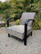 Réfection complète de ce fauteuil art déco.Tissu Hopke, collection San Remo