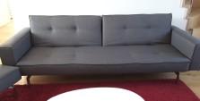 Couverture tissu de ce canapé contemporain. Tissu Pegaso de chez Froca