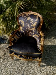 Bergère style Louis XV. Tissu Thévenon