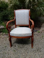 Couverture tissu de 2 fauteuils Restauration. Tissu Veda, Clarke & Clarke